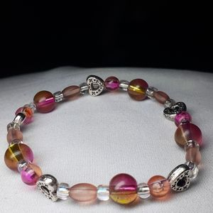 "Sm 6"" pink and hearts beaded stretch bracelet"